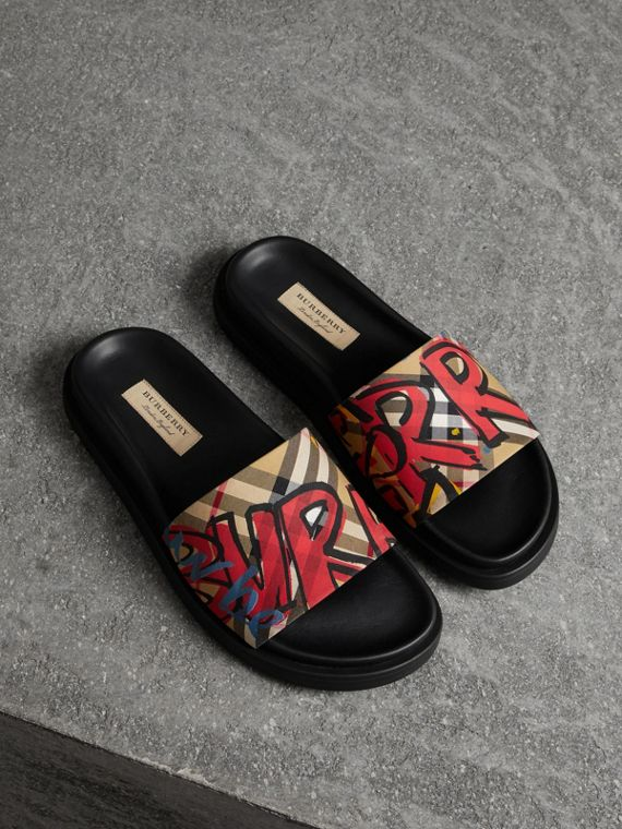 Graffiti Print Vintage Check and Leather Slides in Antique Yellow