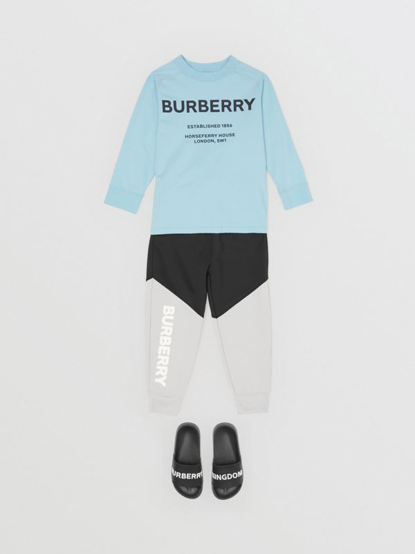 Long-sleeve Horseferry Print Cotton Top in Powder Blue | Burberry - cell image 3