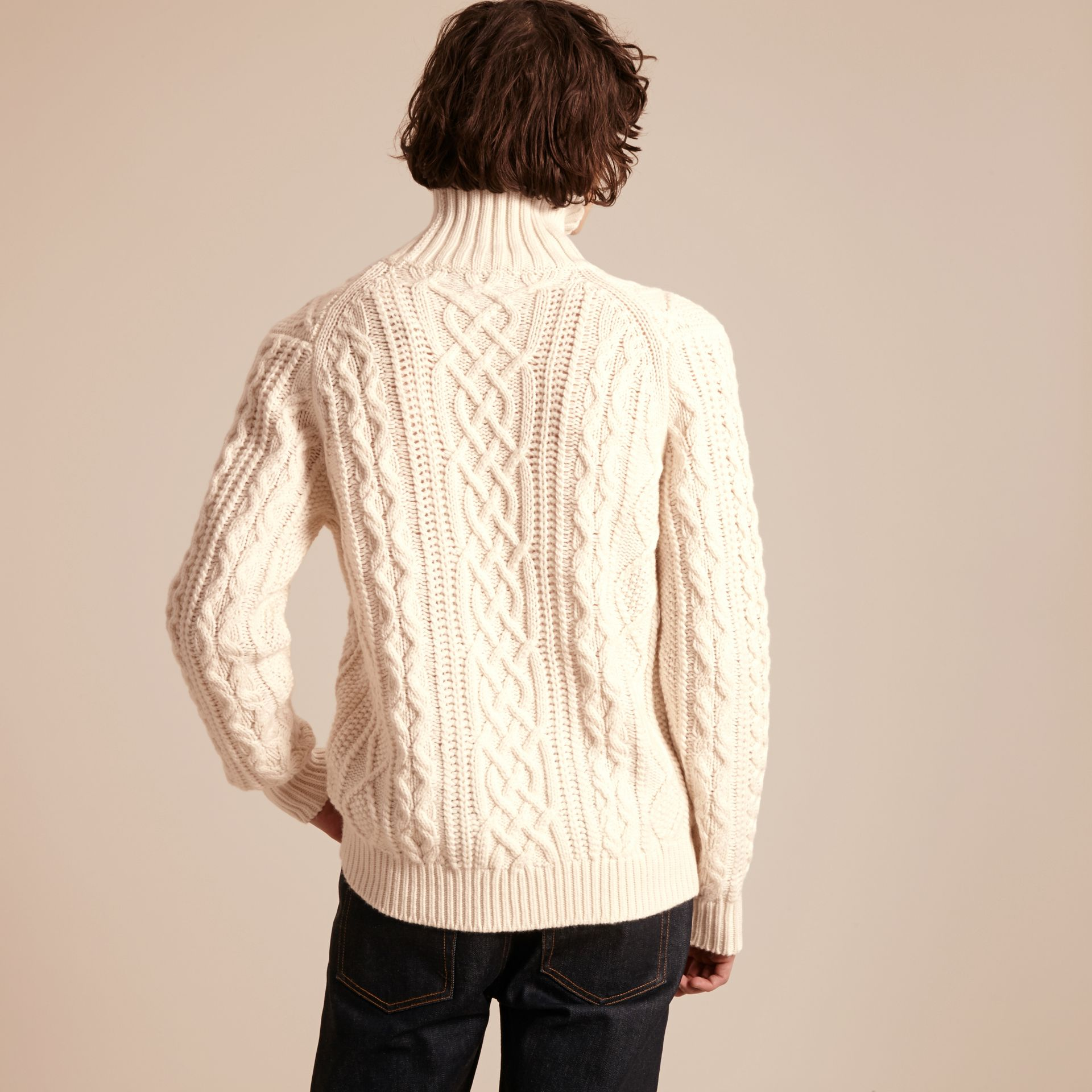 Natural white Funnel Neck Cashmere Cable Knit Sweater - gallery image 3