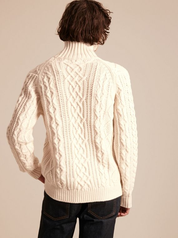 Natural white Funnel Neck Cashmere Cable Knit Sweater - cell image 2