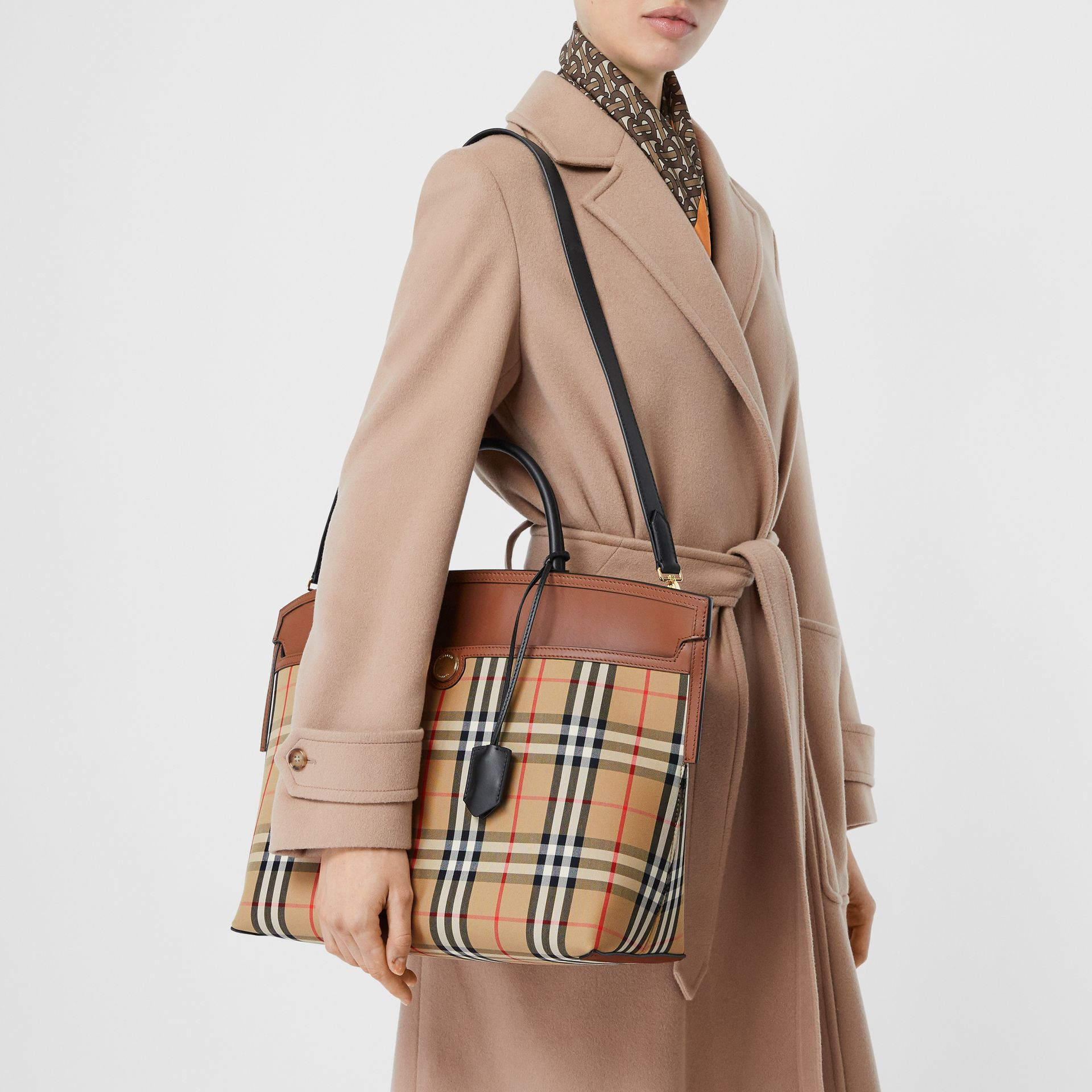 Vintage Check and Leather Society Top Handle Bag in Archive Beige/tan - Women   Burberry Australia - gallery image 2