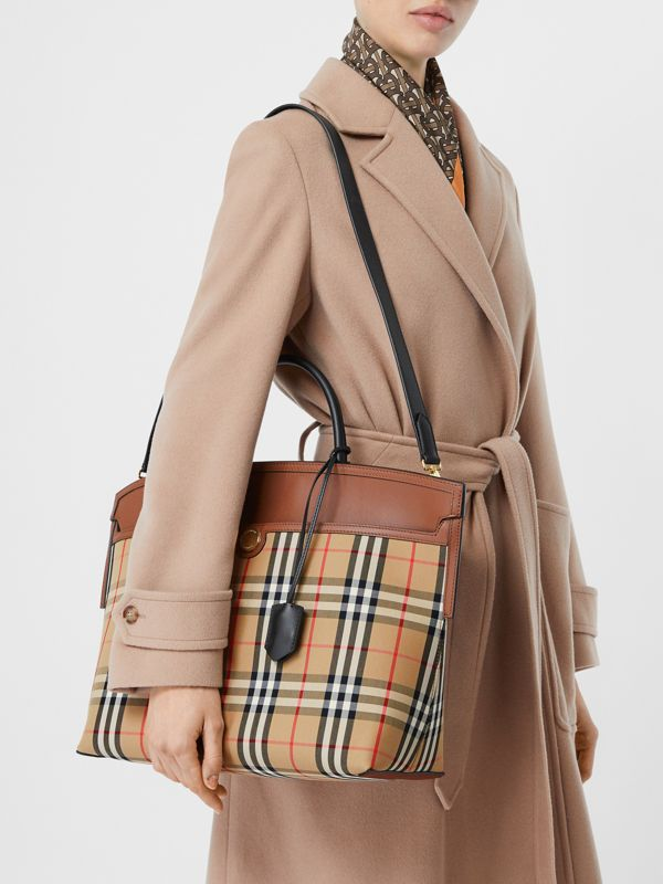 Vintage Check and Leather Society Top Handle Bag in Archive Beige/tan - Women   Burberry Australia - cell image 2