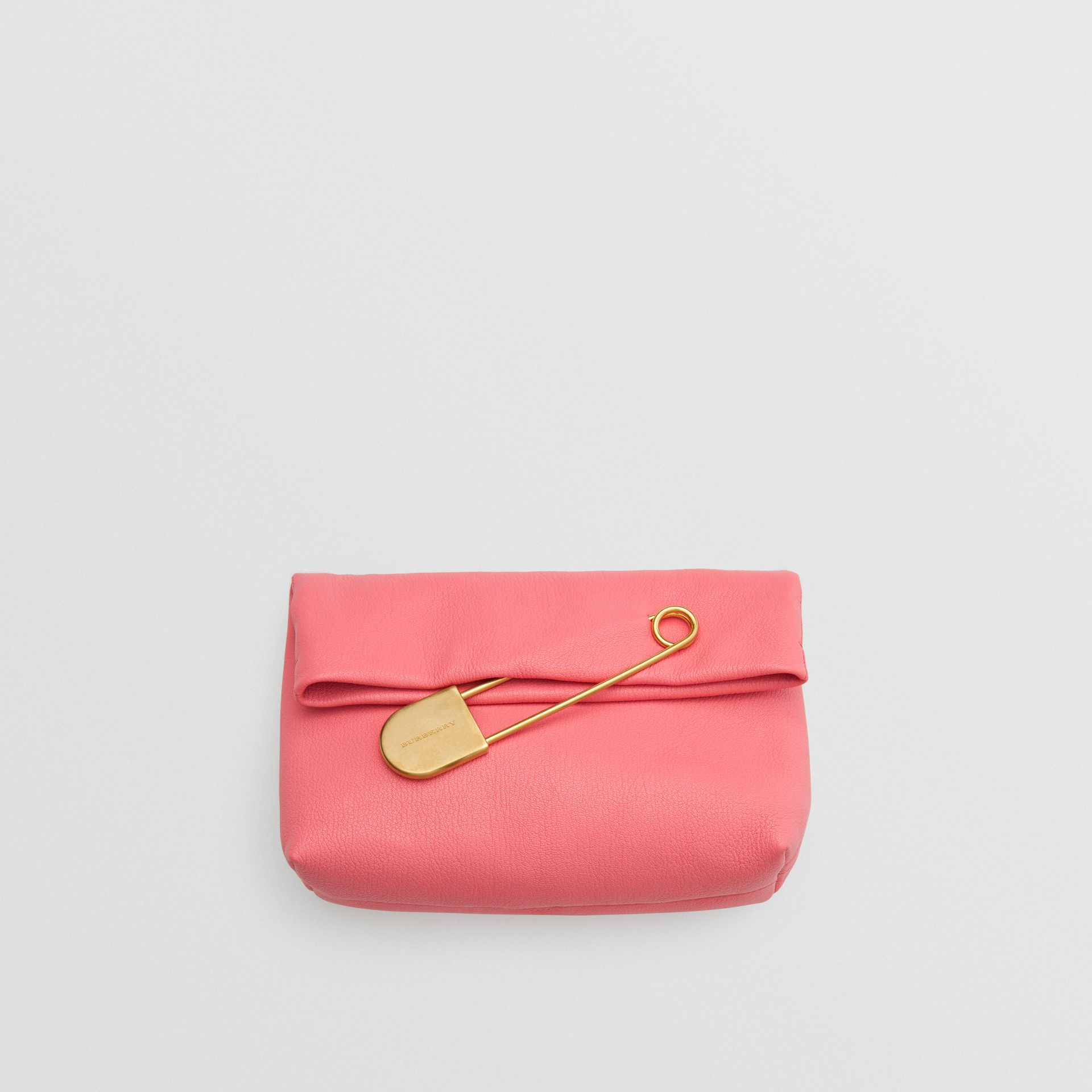 The Medium Pin Clutch in Leather in Bright Coral Pink - Women | Burberry United States - gallery image 0