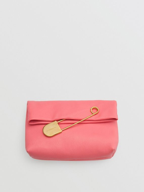 The Medium Pin Clutch in Leather in Bright Coral Pink