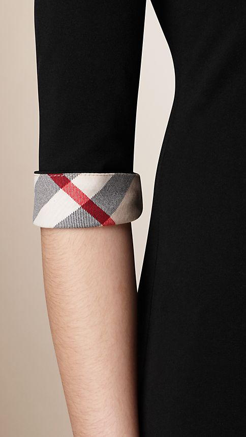 Black Check Cuff Stretch-Cotton Top Black - Image 3