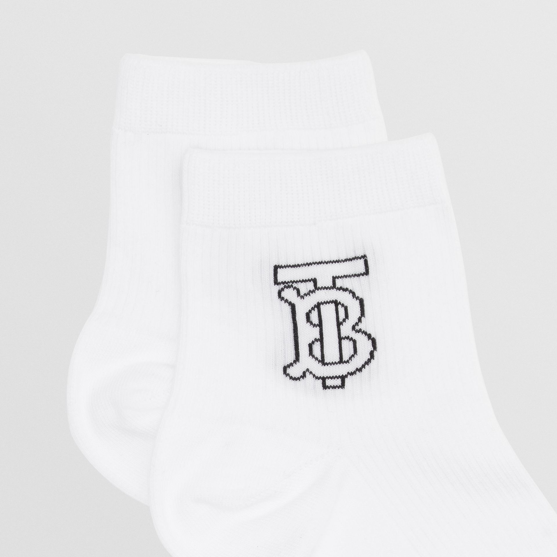Monogram Intarsia Socks in White - Women | Burberry - gallery image 1