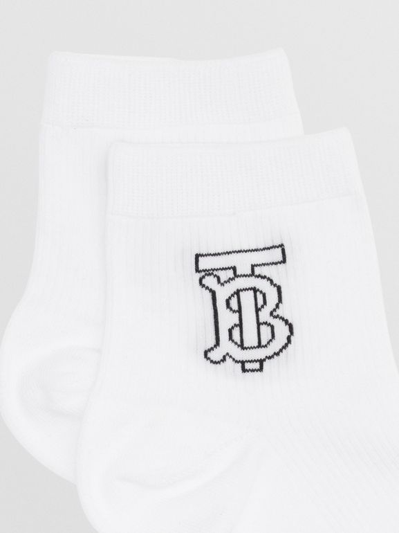 Monogram Intarsia Socks in White - Women | Burberry - cell image 1