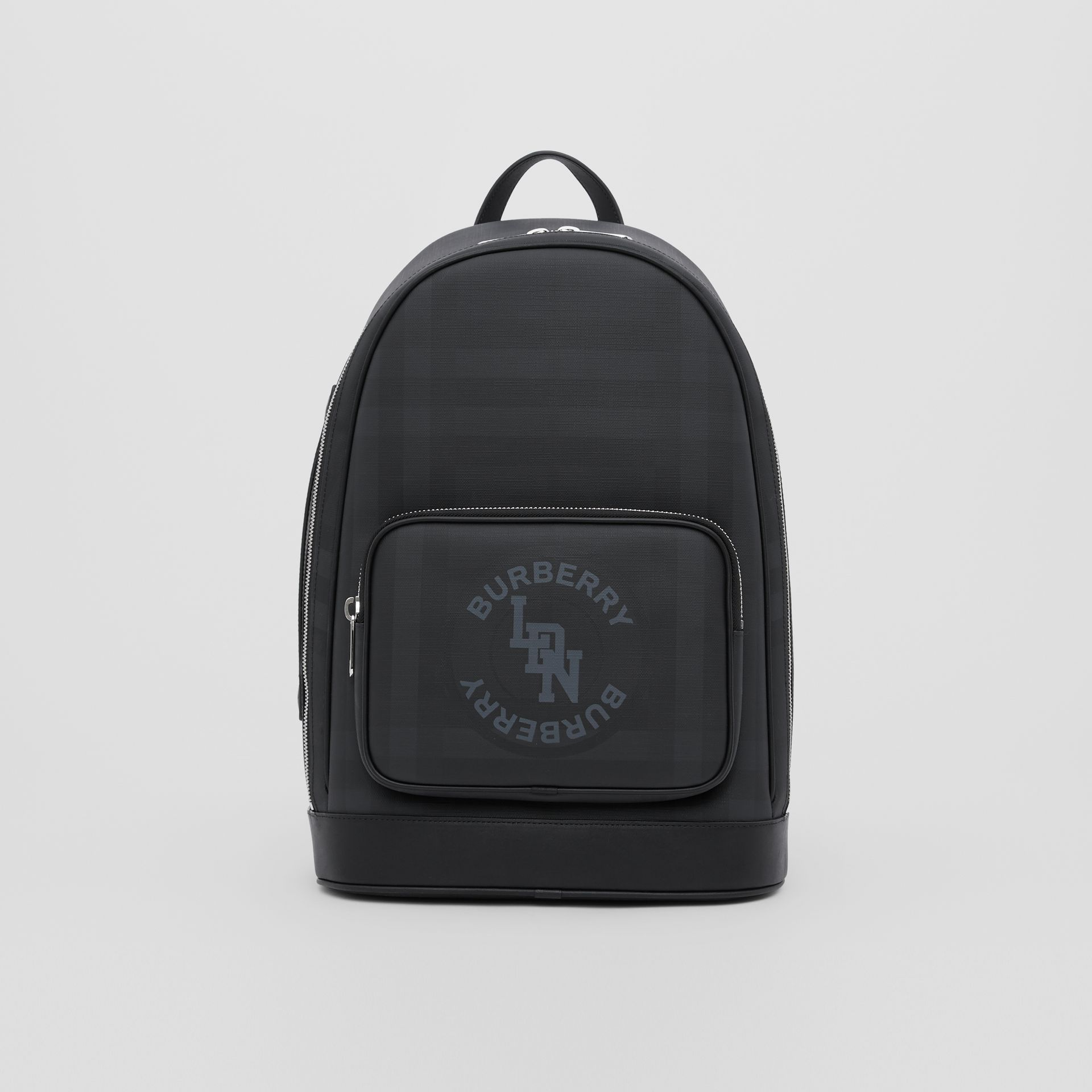 Logo Graphic London Check and Leather Backpack in Dark Charcoal | Burberry Hong Kong S.A.R - gallery image 0