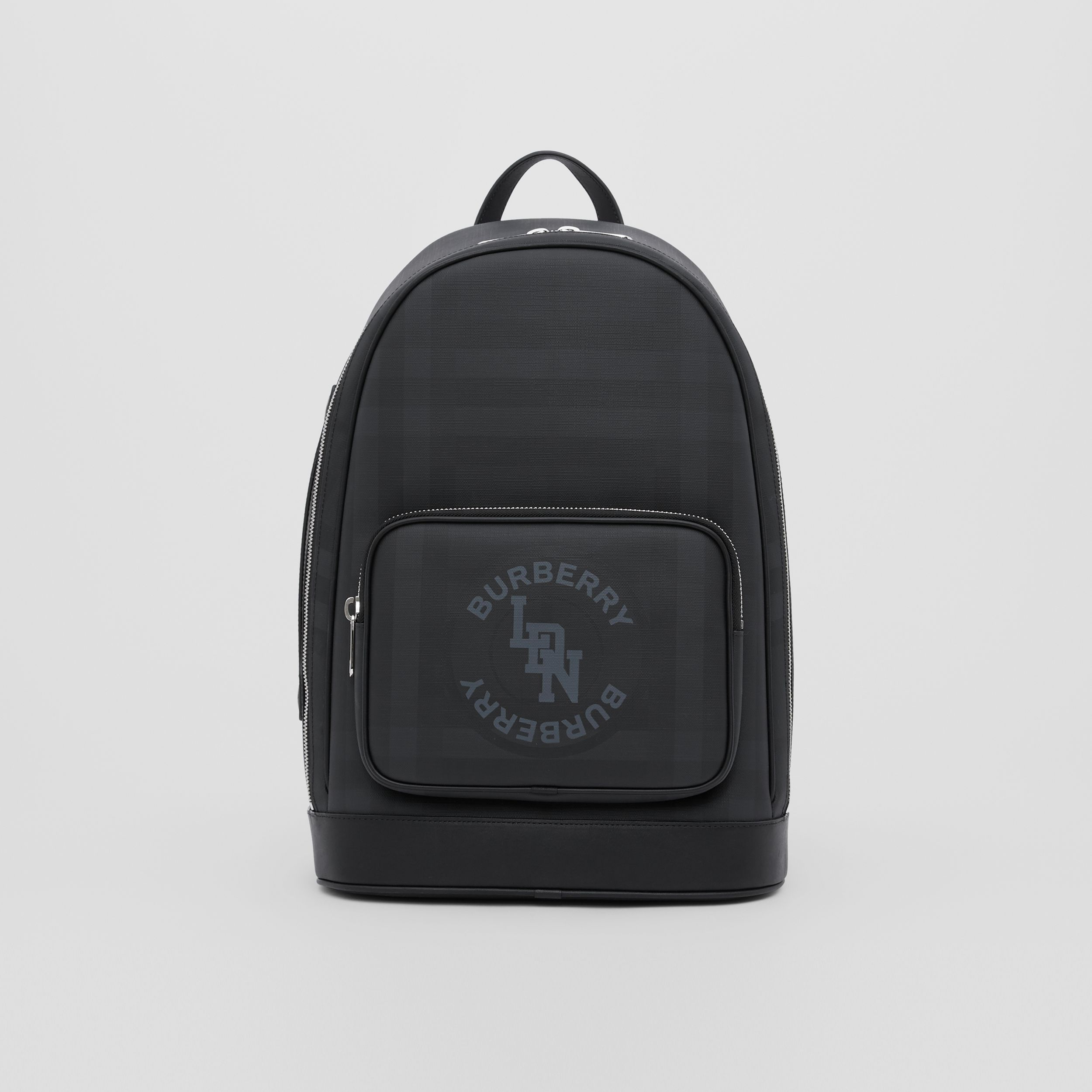 Logo Graphic London Check and Leather Backpack in Dark Charcoal | Burberry - 1