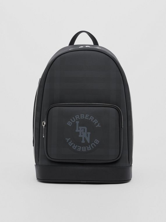 Logo Graphic London Check and Leather Backpack in Dark Charcoal