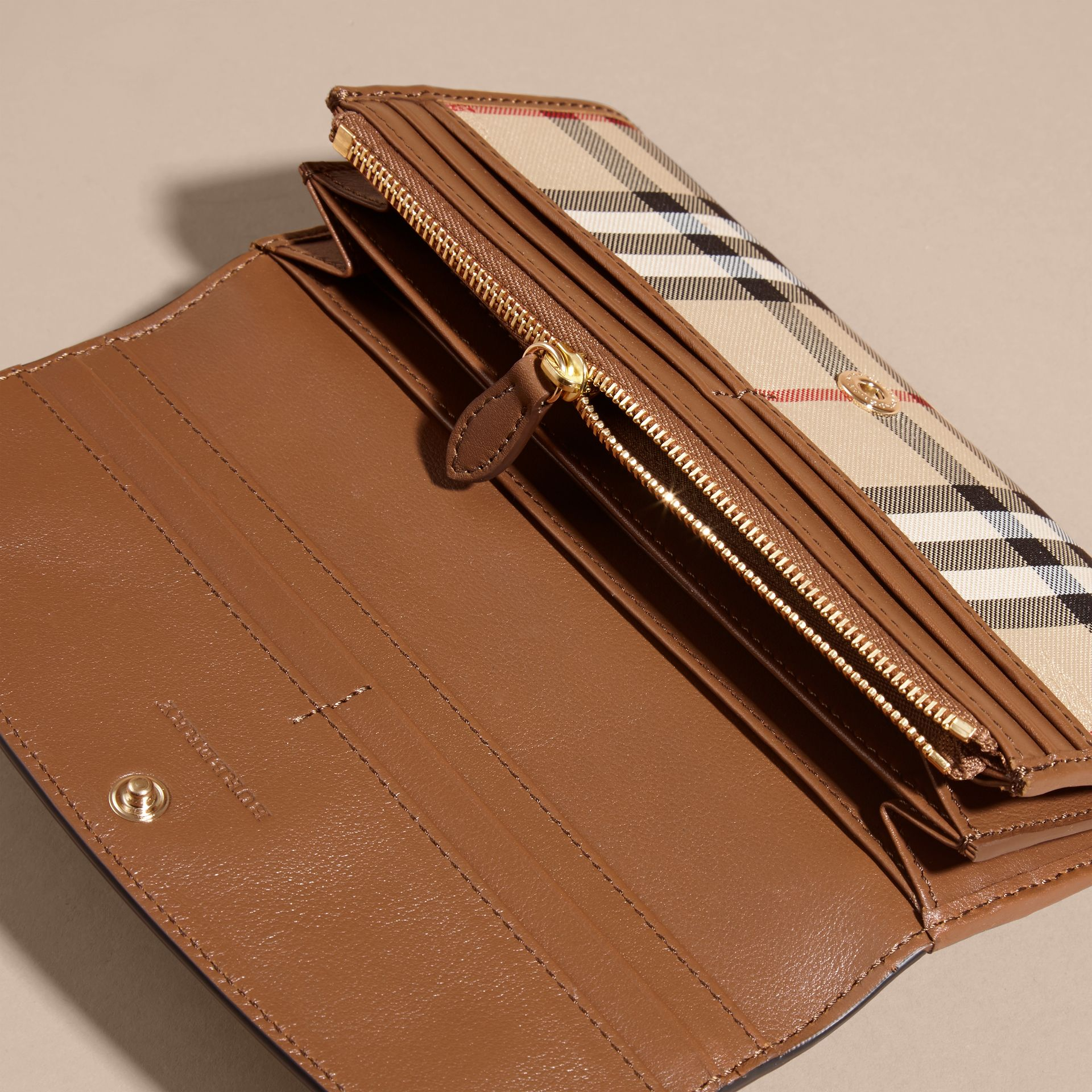 Horseferry Check and Leather Continental Wallet in Tan - Women | Burberry - gallery image 5