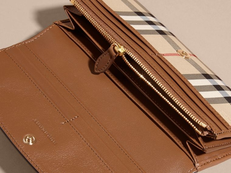 Horseferry Check and Leather Continental Wallet in Tan - Women | Burberry - cell image 4