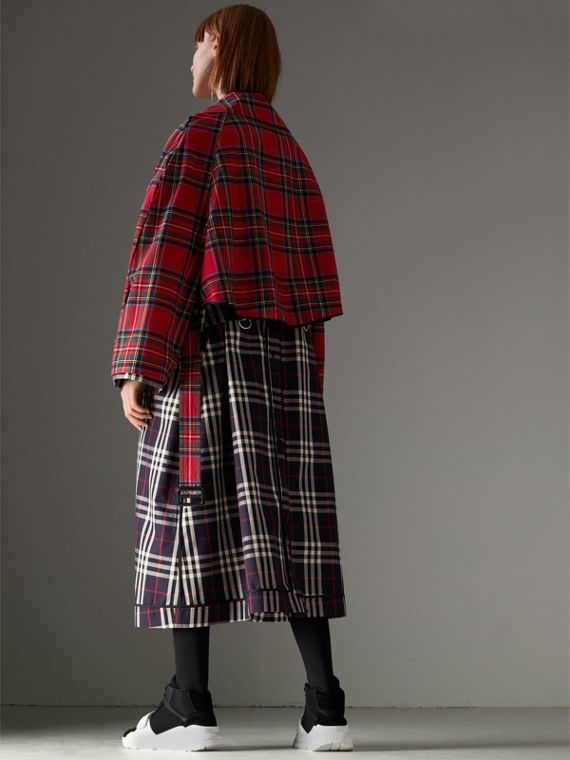 Check and Tartan Cotton Trench Coat in Navy - Women | Burberry United States - cell image 2