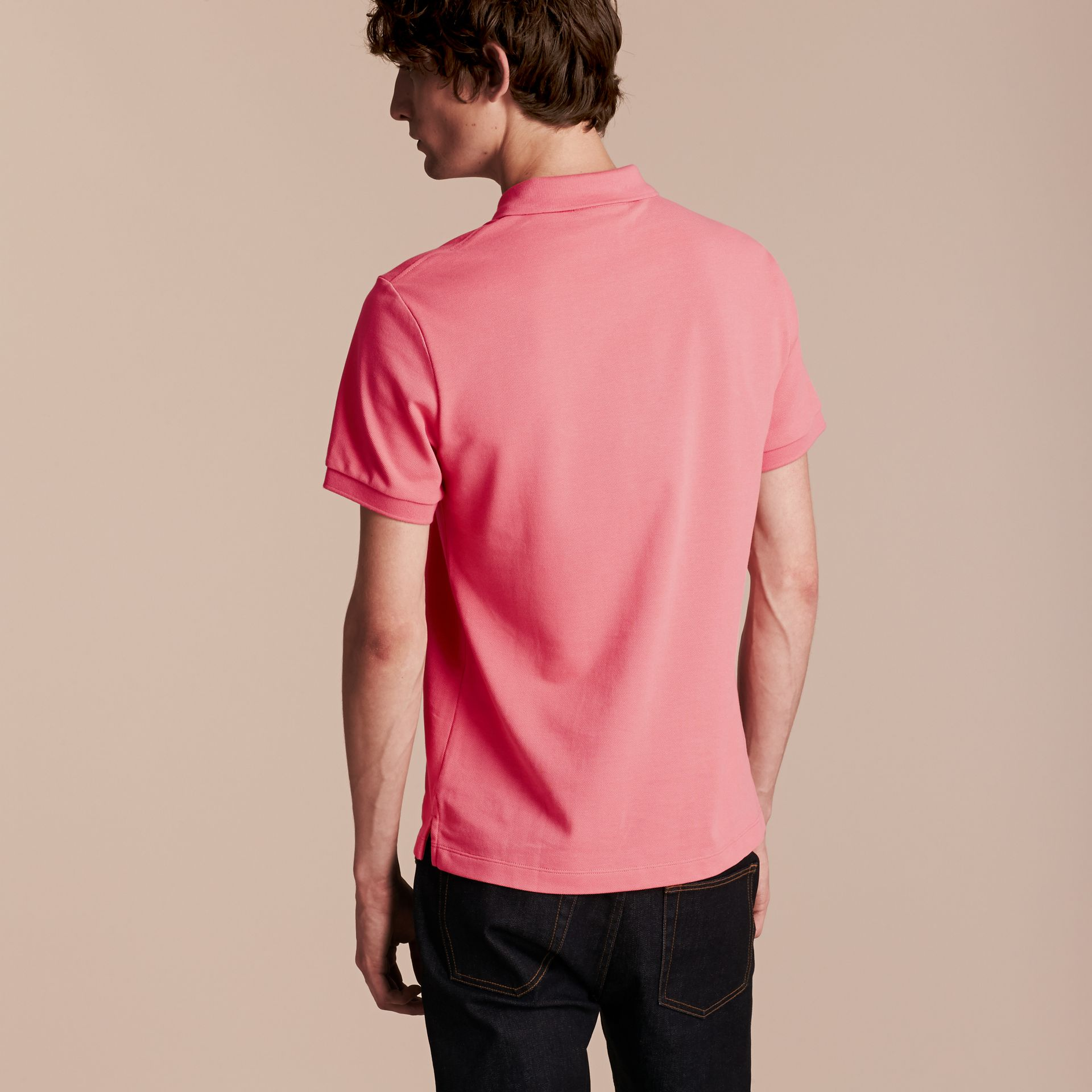 Check Placket Cotton Piqué Polo Shirt Rose Pink - gallery image 3