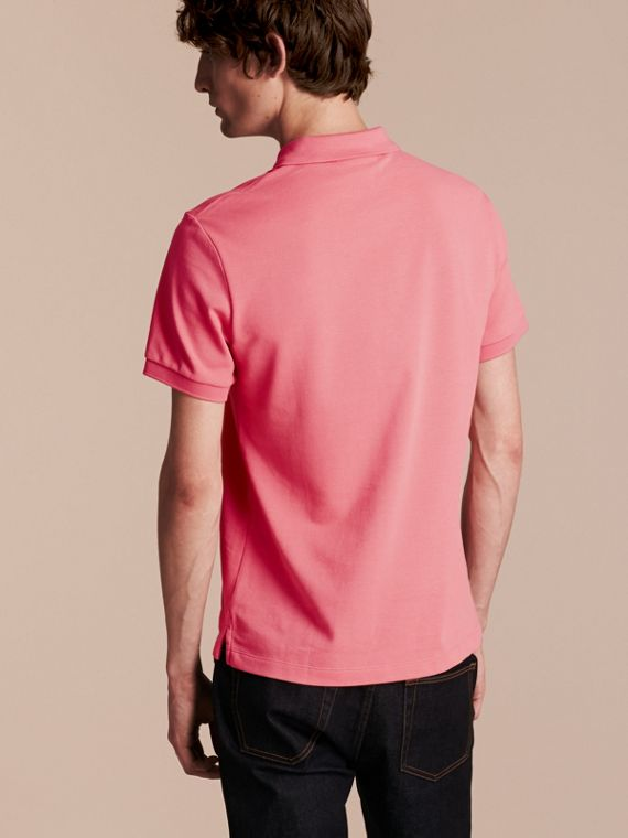 Check Placket Cotton Piqué Polo Shirt in Rose Pink - cell image 2