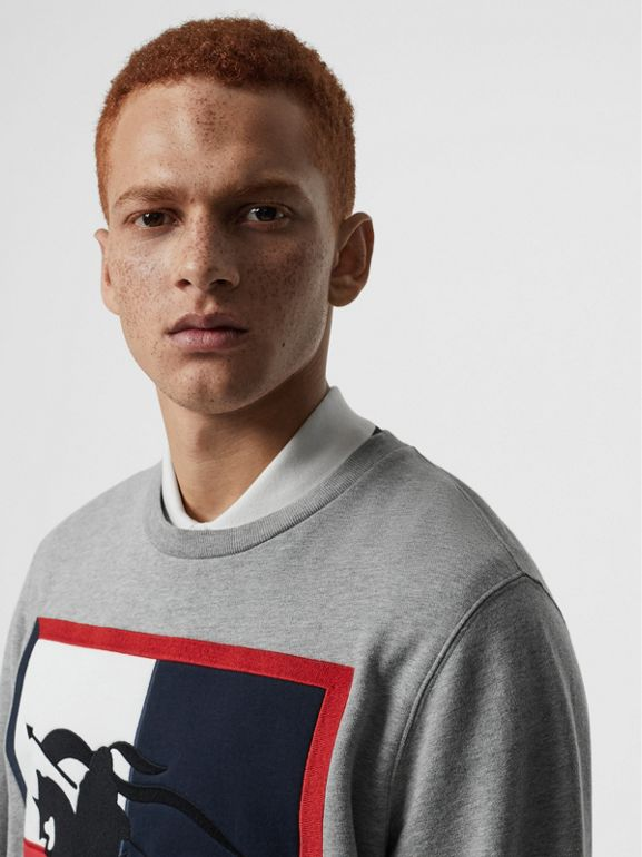 Chequer EKD Cotton Sweatshirt in Pale Grey Melange - Men | Burberry - cell image 1