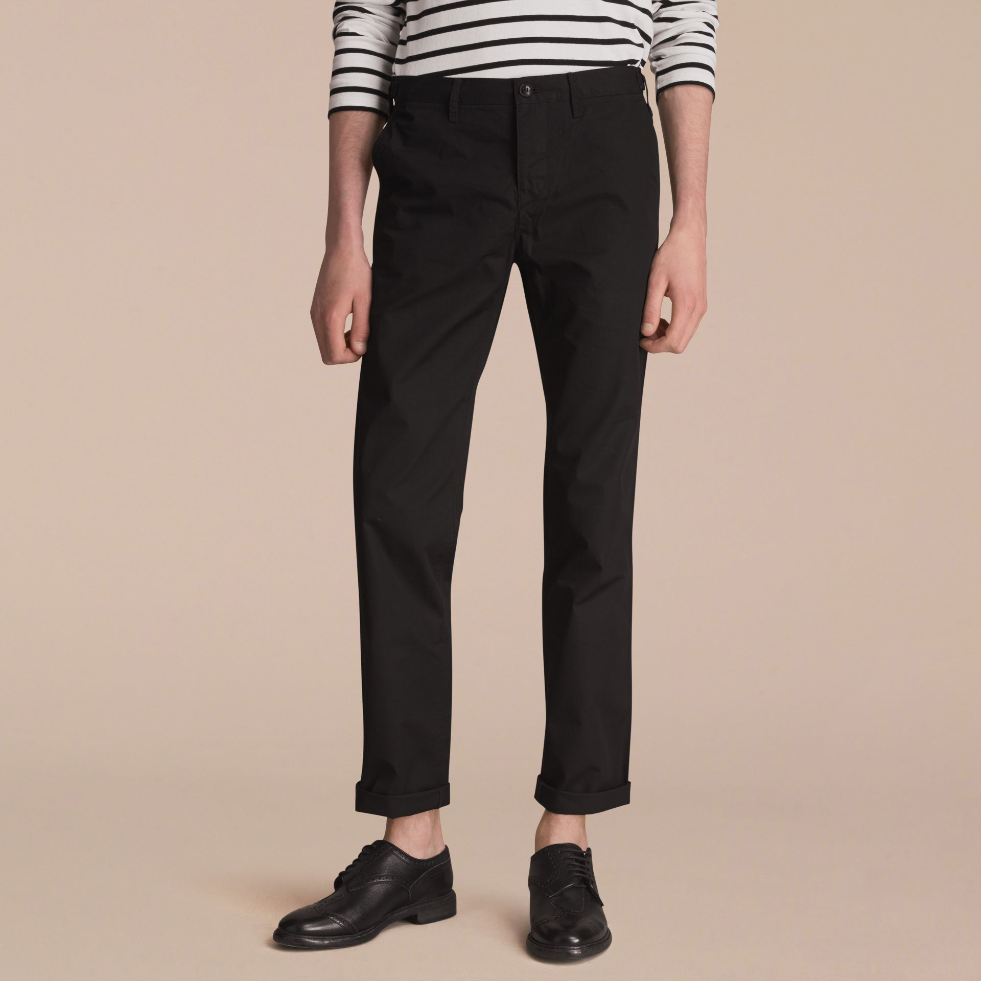 Straight Fit Cotton Chinos in Black - Men | Burberry - gallery image 6