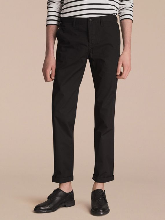 Straight Fit Cotton Chinos in Black - Men | Burberry Australia