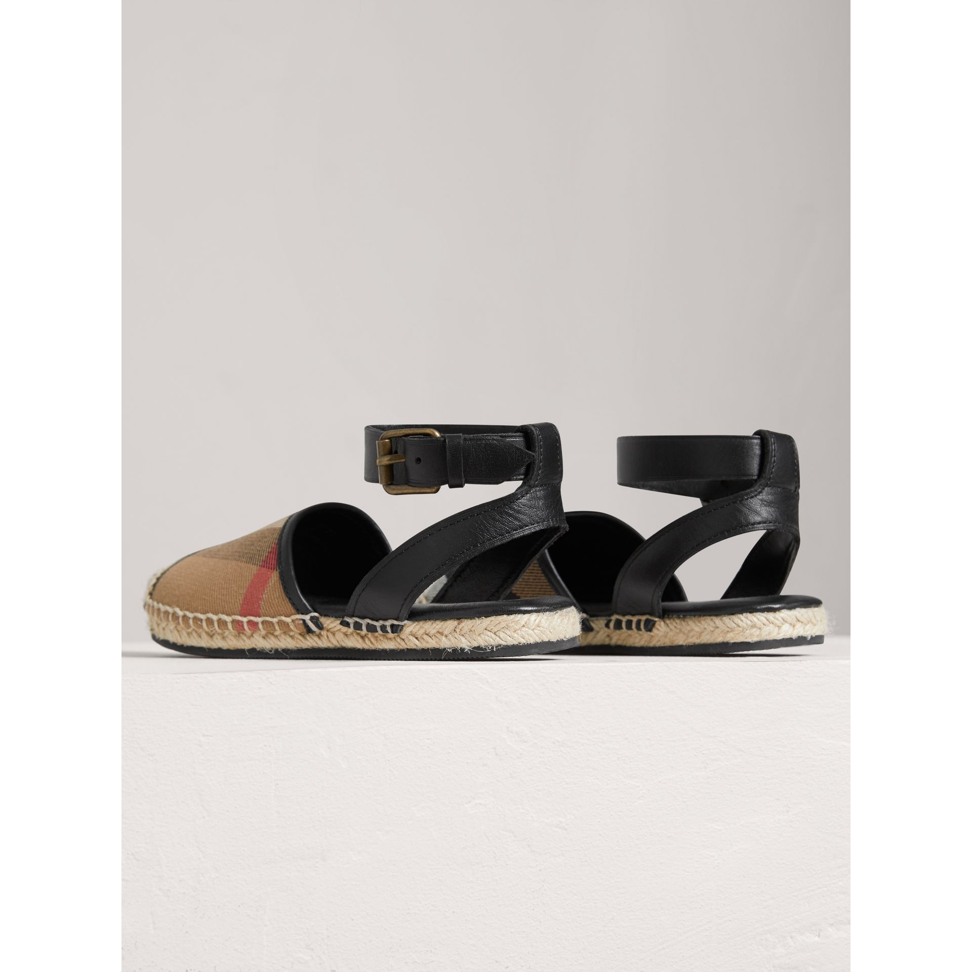 Leather Ankle Strap and House Check Espadrille Sandals in Black - Girl | Burberry - gallery image 2
