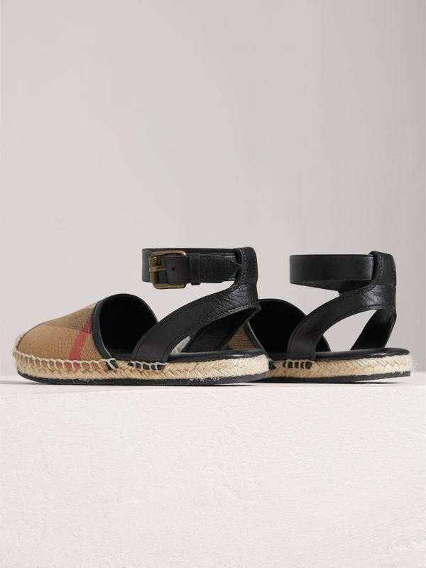 Leather Ankle Strap and House Check Espadrille Sandals in Black | Burberry - cell image 2