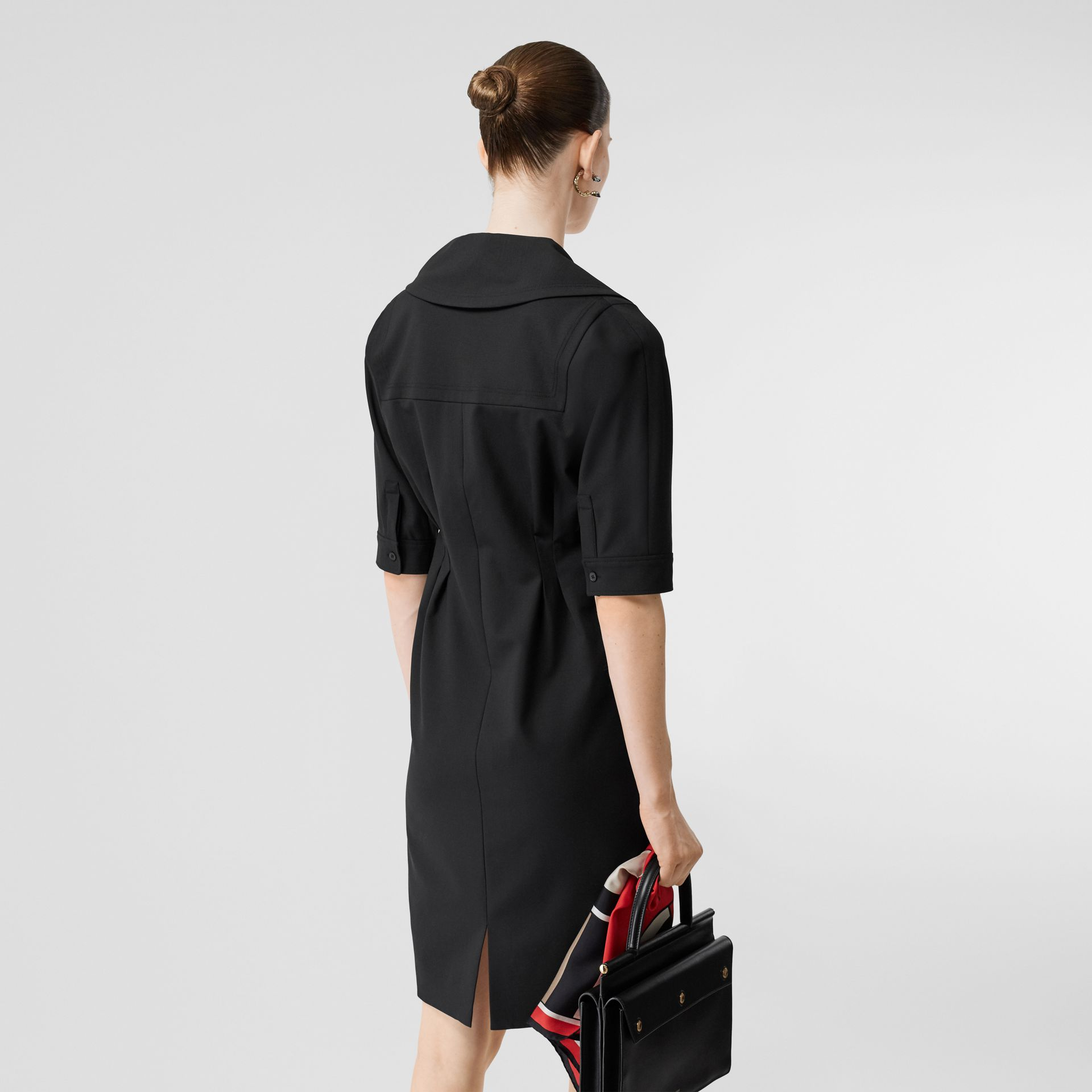 Short-sleeve Stretch Wool Dress in Black - Women | Burberry - gallery image 2