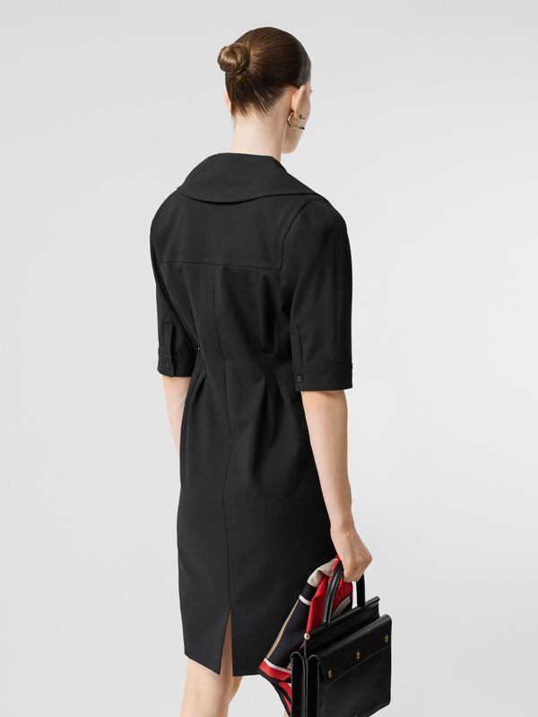 Short-sleeve Stretch Wool Dress in Black - Women | Burberry - cell image 2