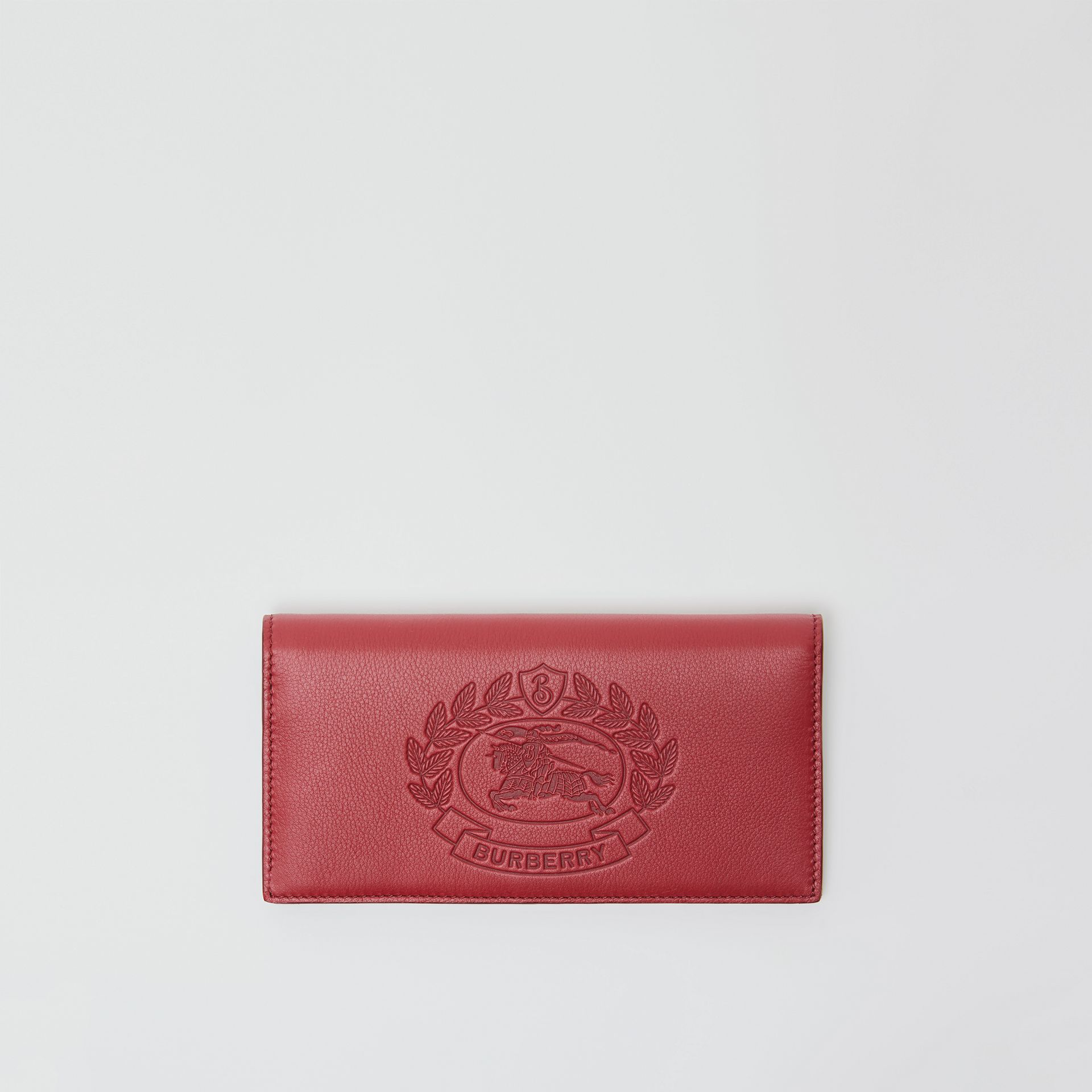 Embossed Crest Leather Continental Wallet in Crimson - Men | Burberry - gallery image 2