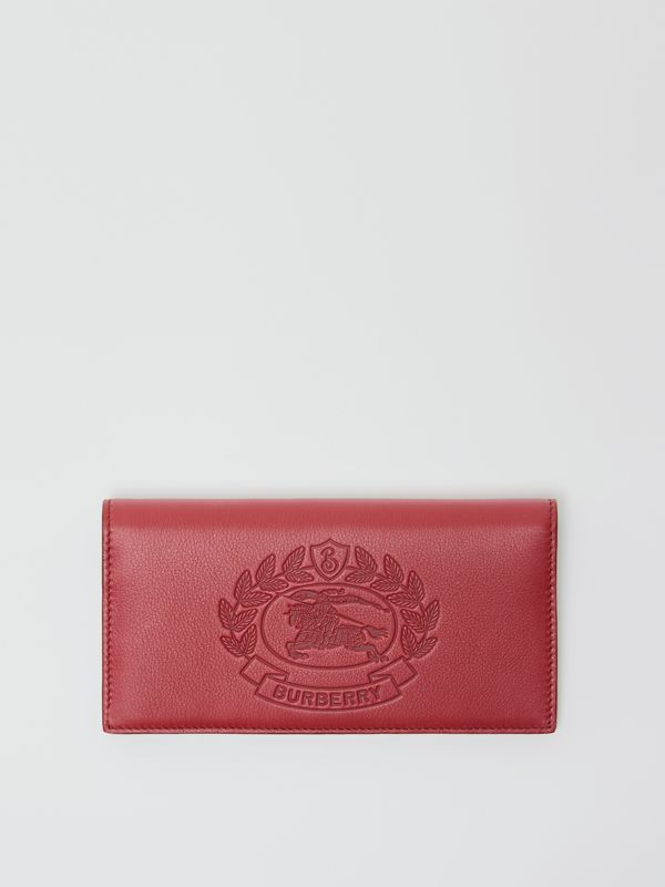 Embossed Crest Leather Continental Wallet in Crimson - Men | Burberry - cell image 2