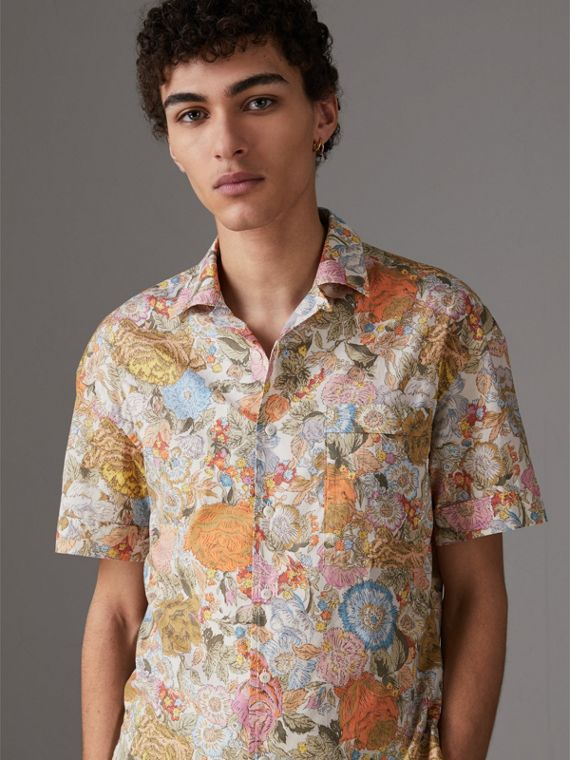 Short-sleeve Floral Print Cotton Shirt in Bright Orange