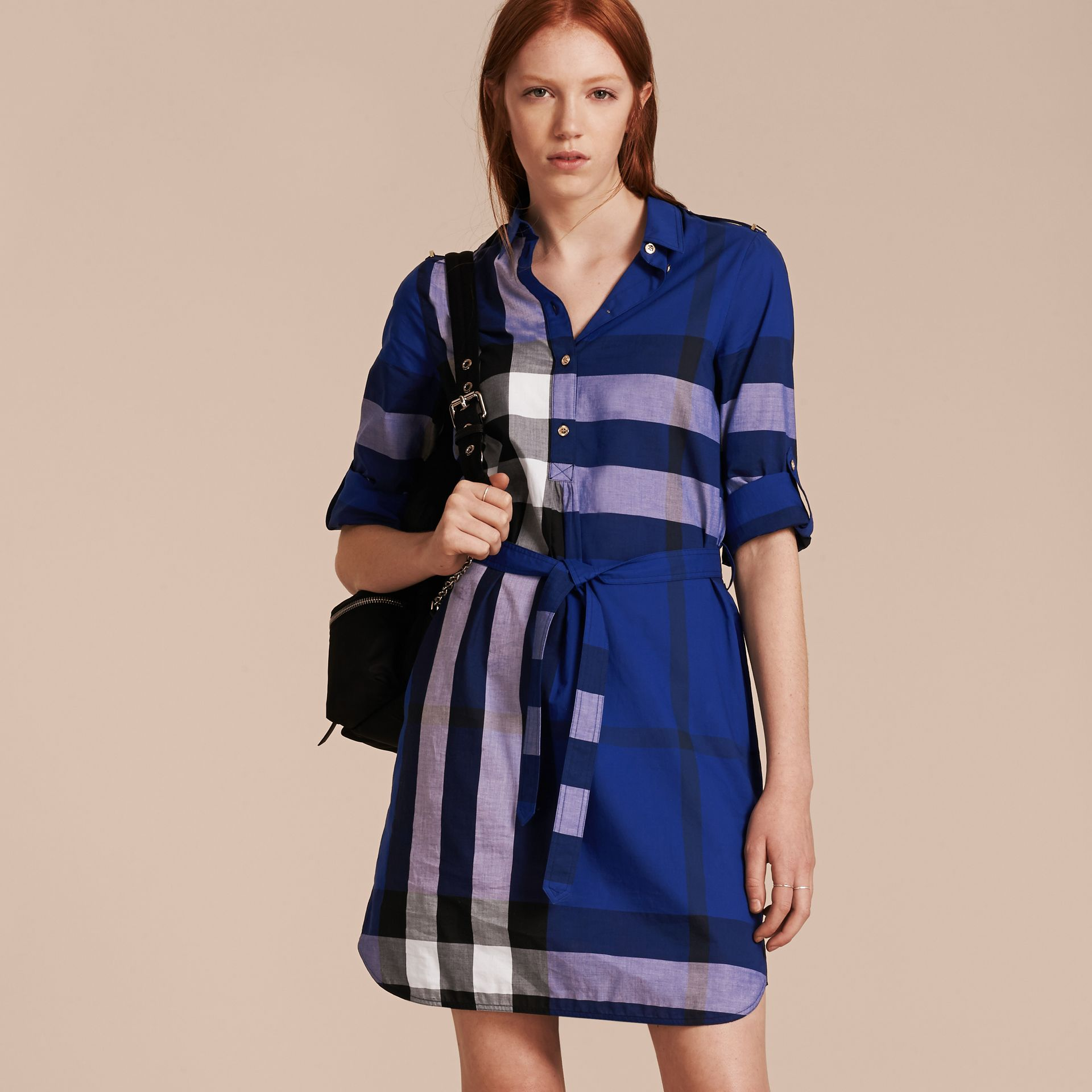 Check Cotton Shirt Dress in Brilliant Blue - gallery image 6