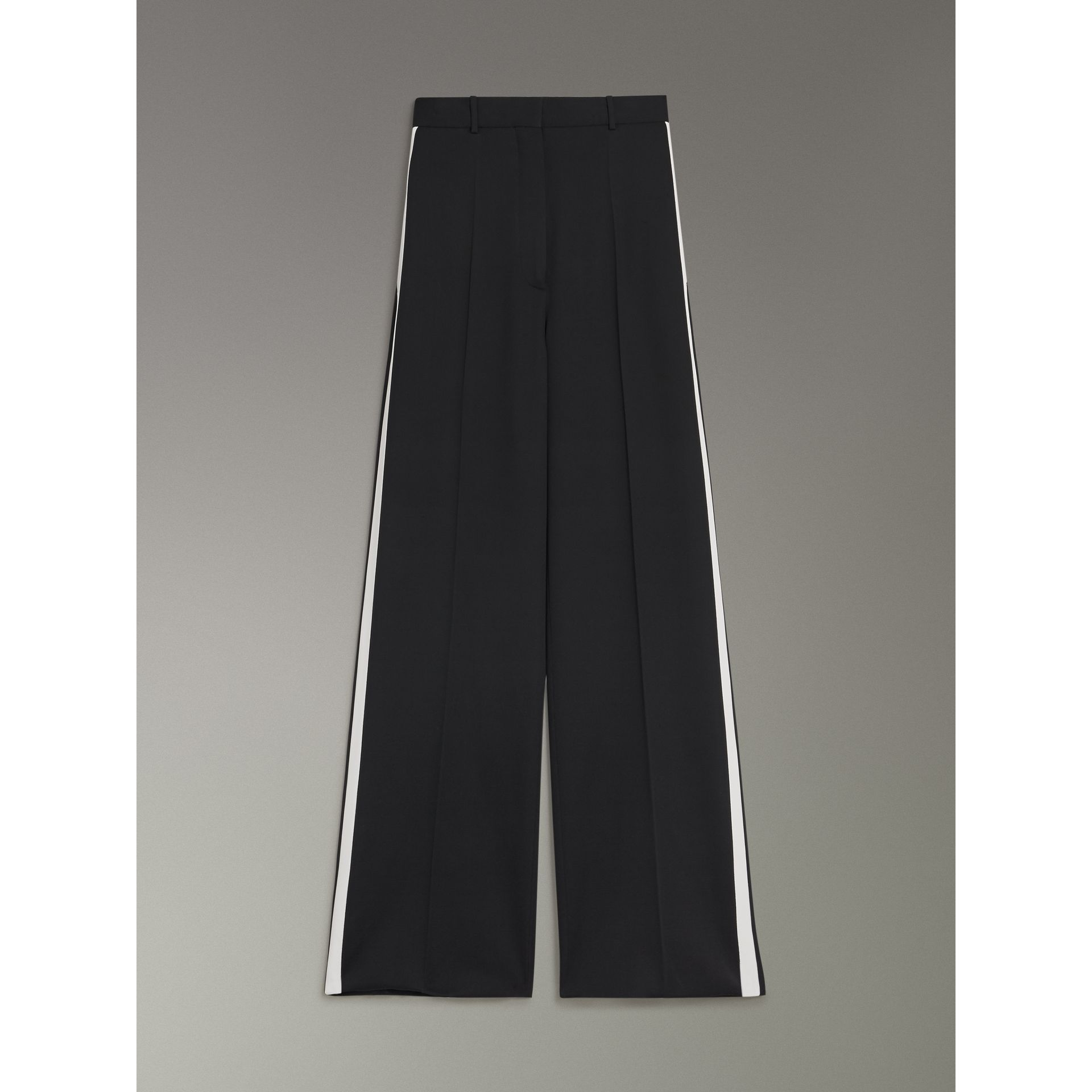 Crepe Wide-leg Trousers in Black - Women | Burberry Singapore - gallery image 3