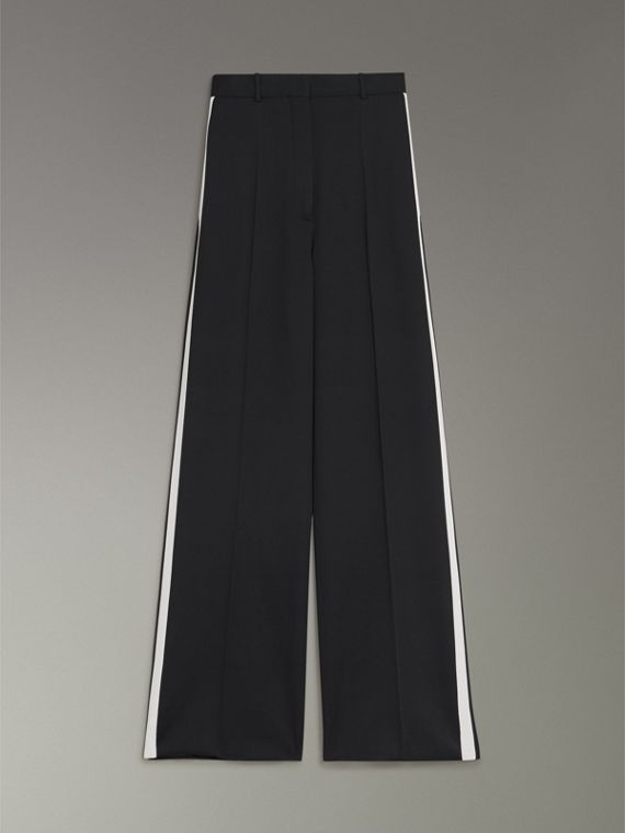 Crepe Wide-leg Trousers in Black - Women | Burberry Singapore - cell image 3