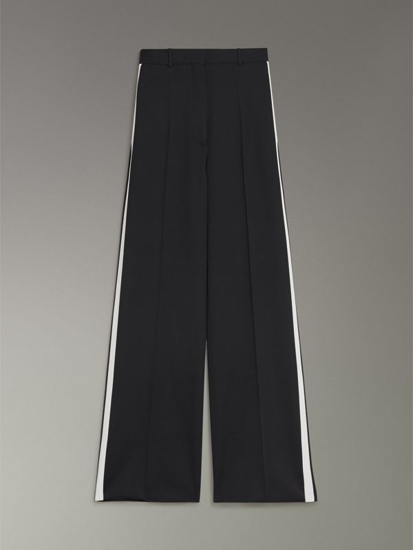 Crepe Wide-leg Trousers in Black - Women | Burberry - cell image 3