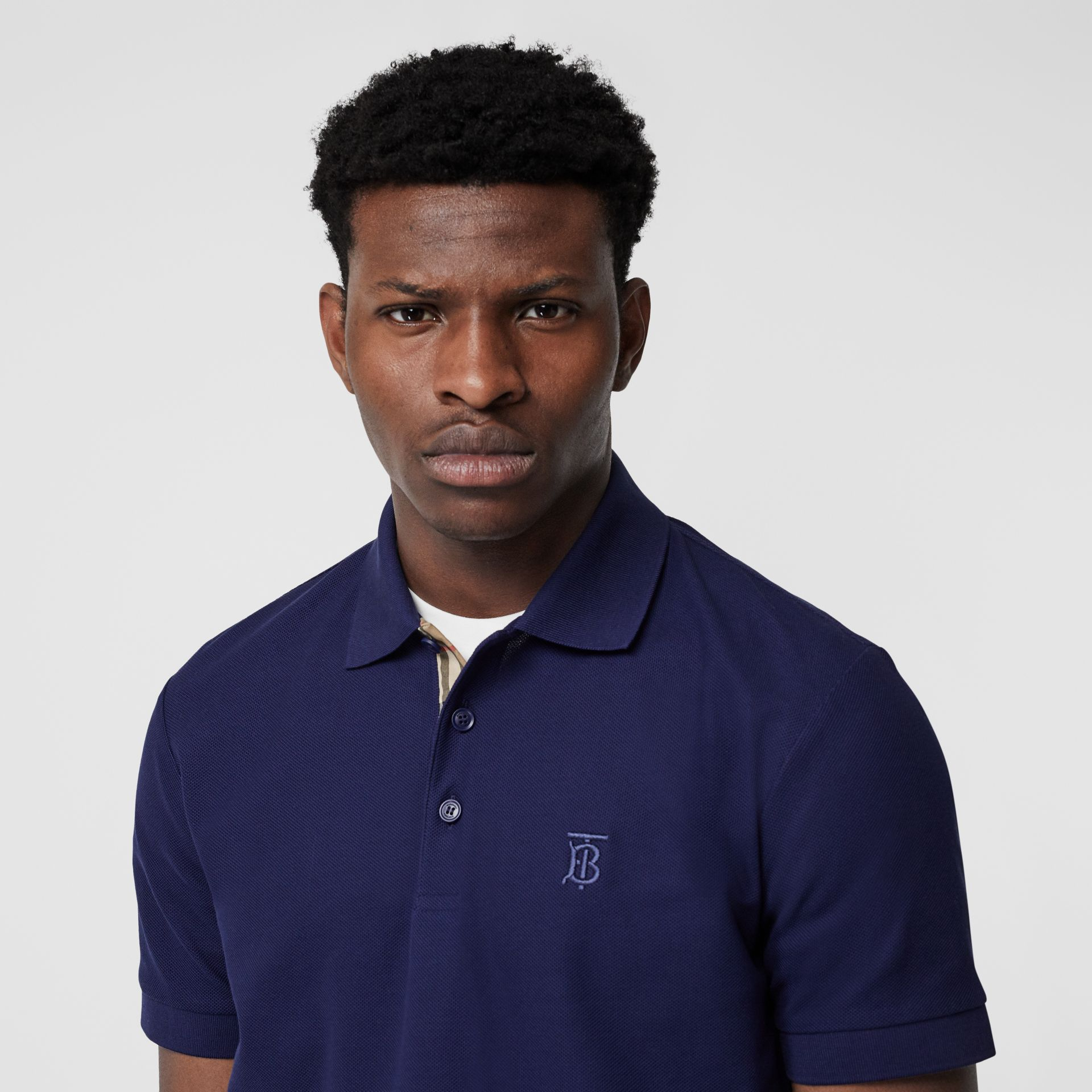 Monogram Motif Cotton Piqué Polo Shirt in Indigo - Men | Burberry - gallery image 1