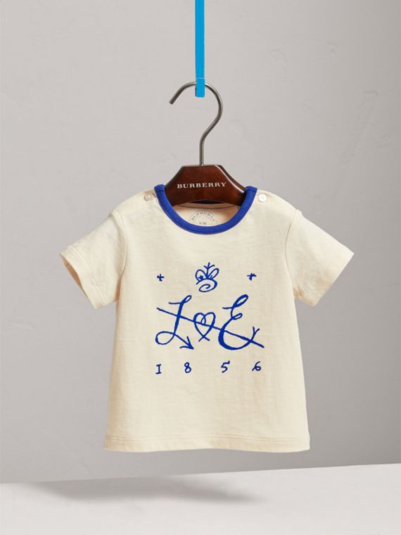 Flocked Emblem Cotton T-shirt in Natural White