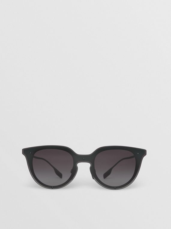 Keyhole Round Frame Shield Sunglasses in Black