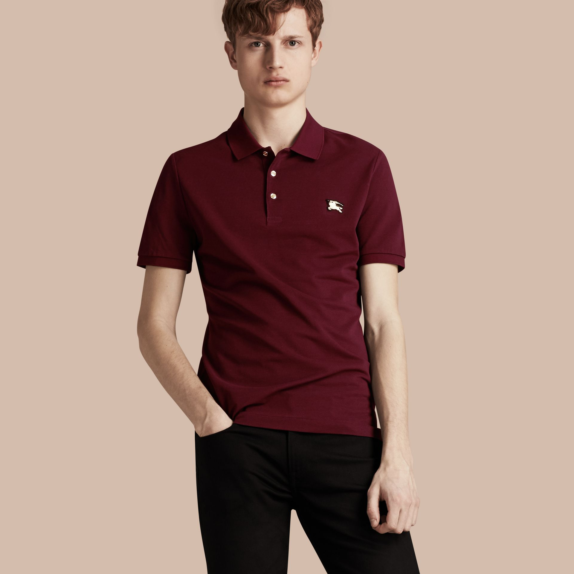 Burgundy red Fitted Mercerised Cotton-Piqué Polo Shirt Burgundy Red - gallery image 1