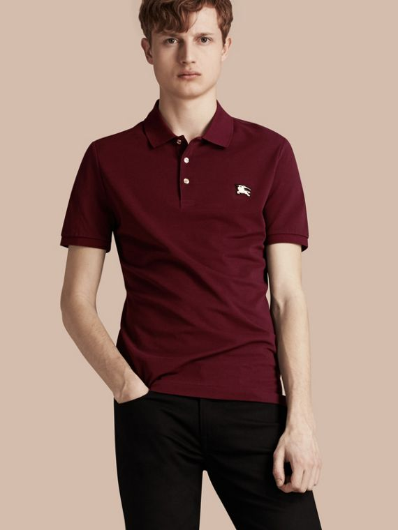 Fitted Mercerised Cotton-Piqué Polo Shirt Burgundy Red