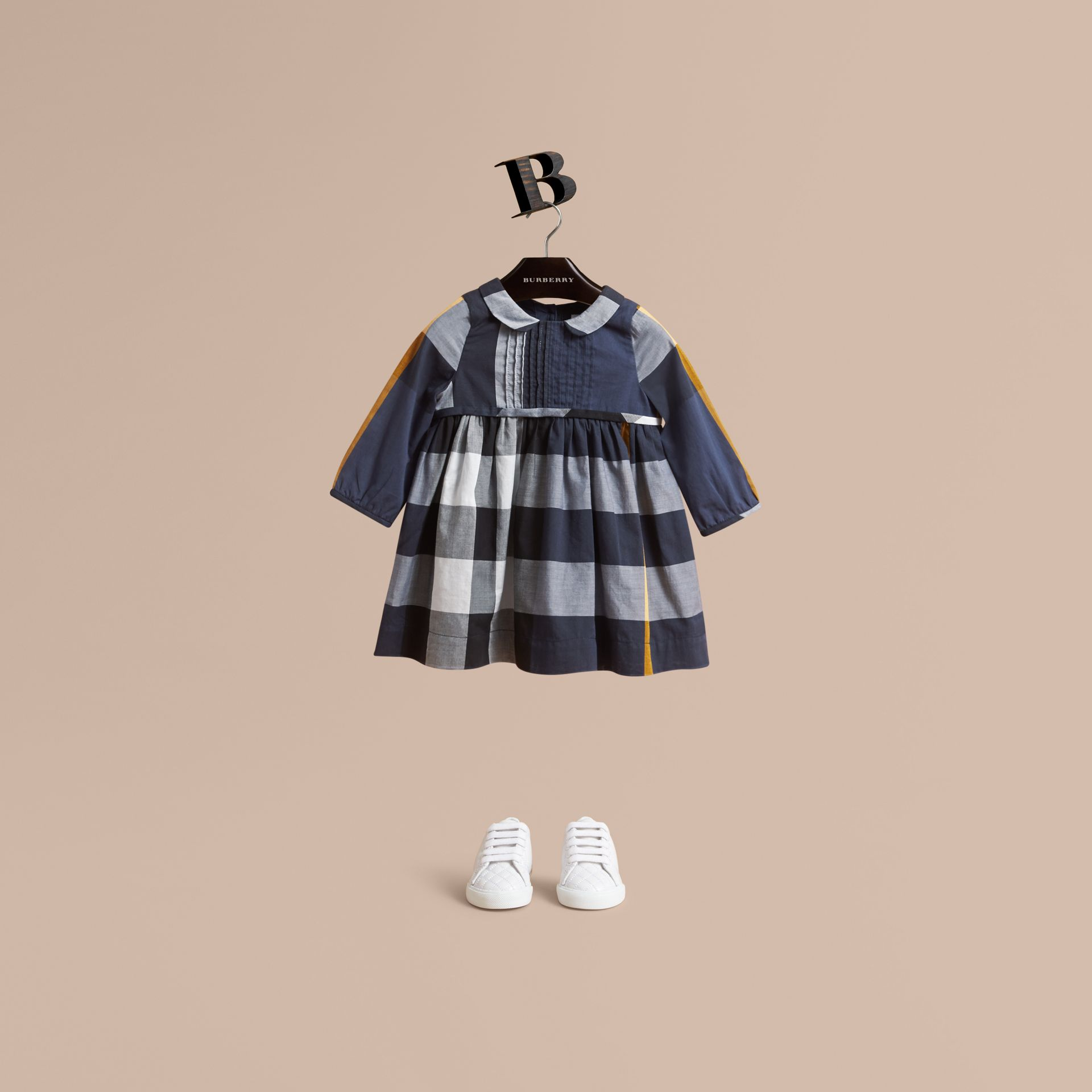 Long-sleeve Check Pintuck Bib Cotton Dress in Pale Navy | Burberry - gallery image 1