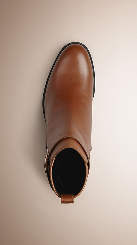 Chestnut House Check Leather Ankle Boots - Image 3
