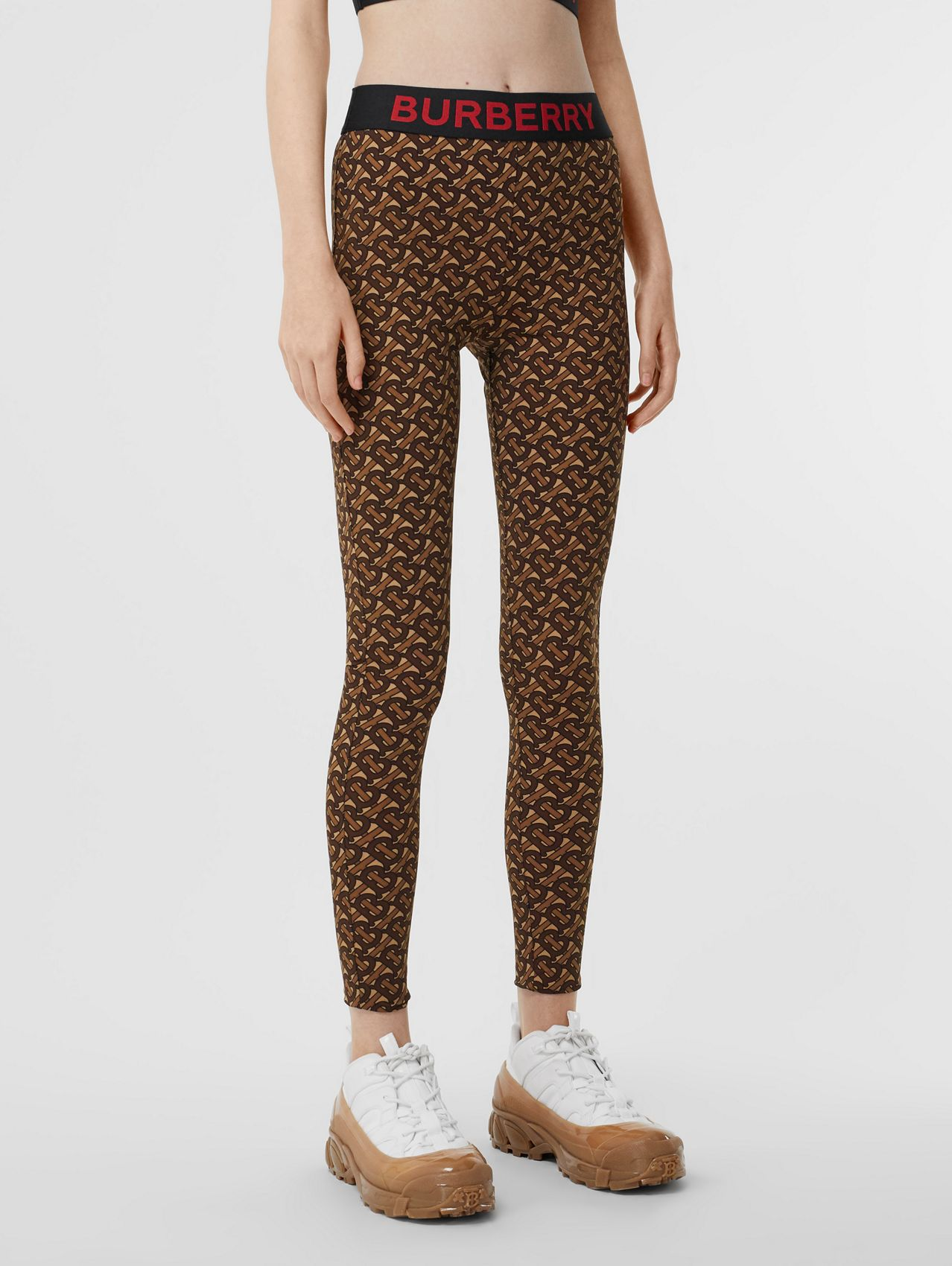 Monogram Print Stretch Jersey Leggings in Bridle Brown