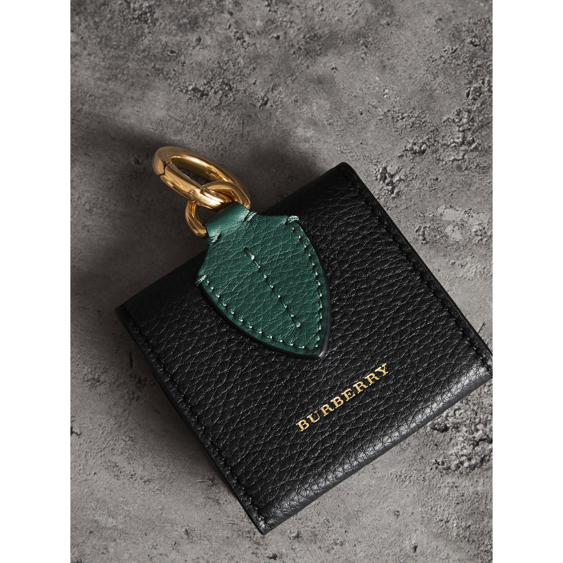 Small Square Leather Coin Case Charm in Black/sea Green - Women | Burberry United Kingdom - gallery image 2