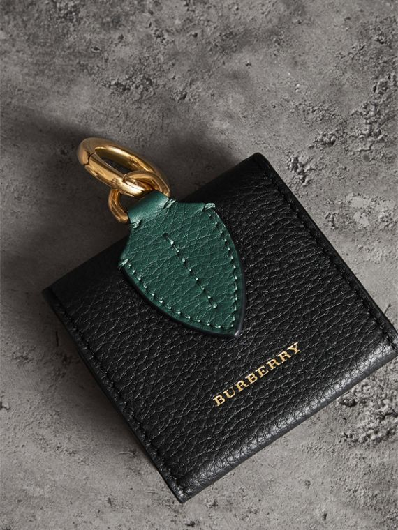 Small Square Leather Coin Case Charm in Black/sea Green - Women | Burberry United Kingdom - cell image 2