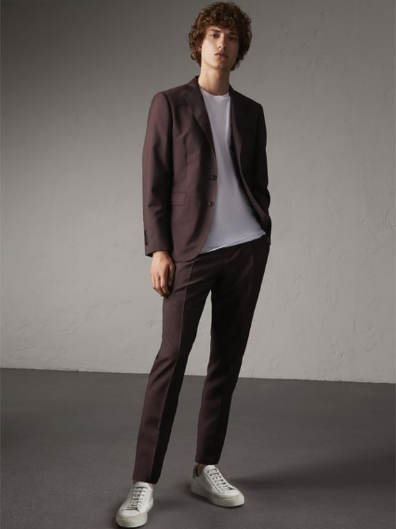 Slim Fit Wool Mohair Suit in Chestnut Brown