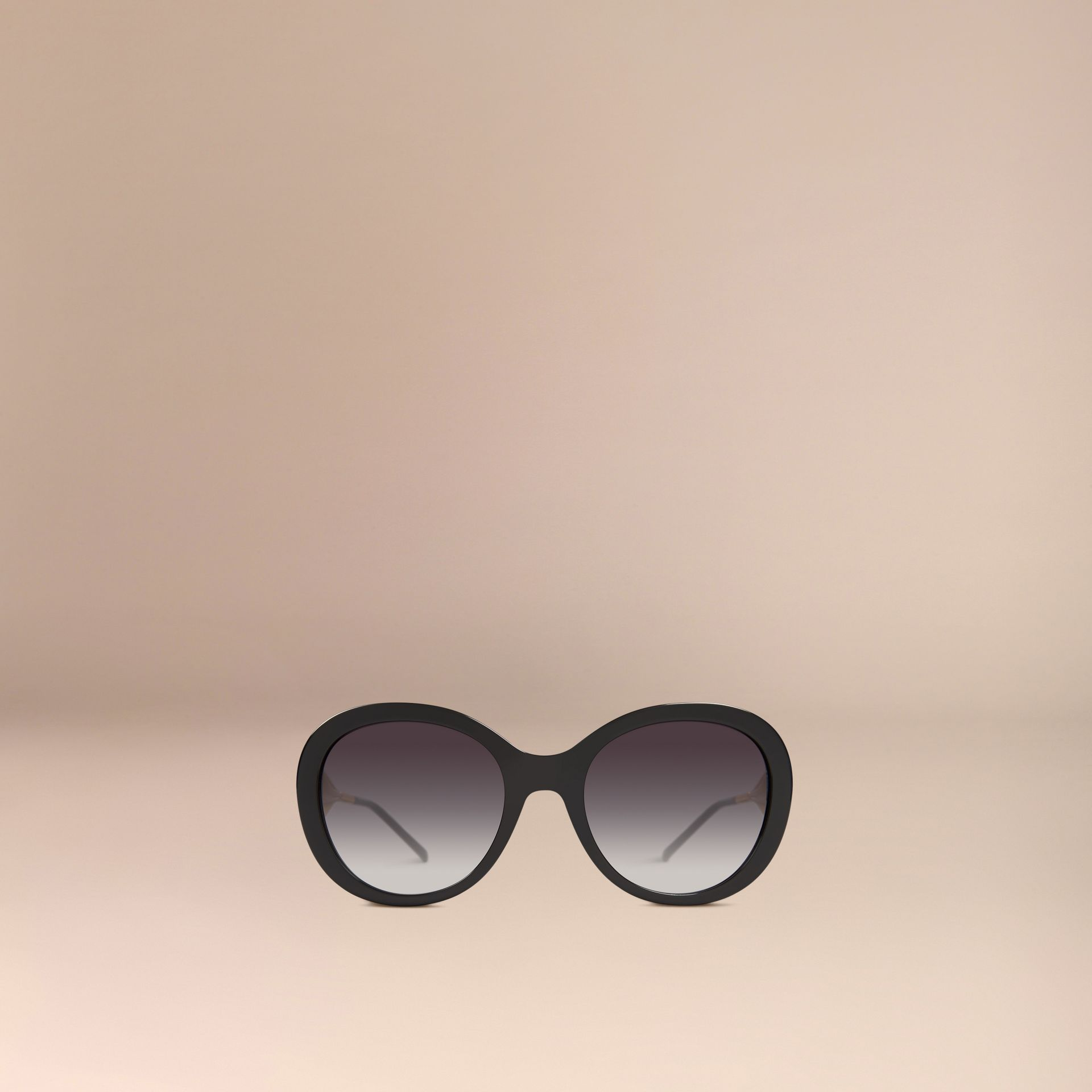 Gabardine Collection Oversize Round Frame Sunglasses in Black - Women | Burberry United States - gallery image 3