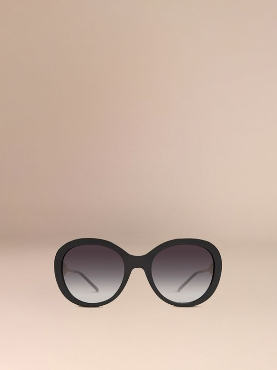 Gabardine Collection Oversize Round Frame Sunglasses in Black - Women | Burberry - cell image 2