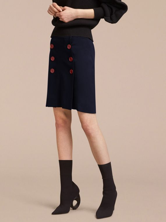 Resin Button Double-breasted Tailored Skirt