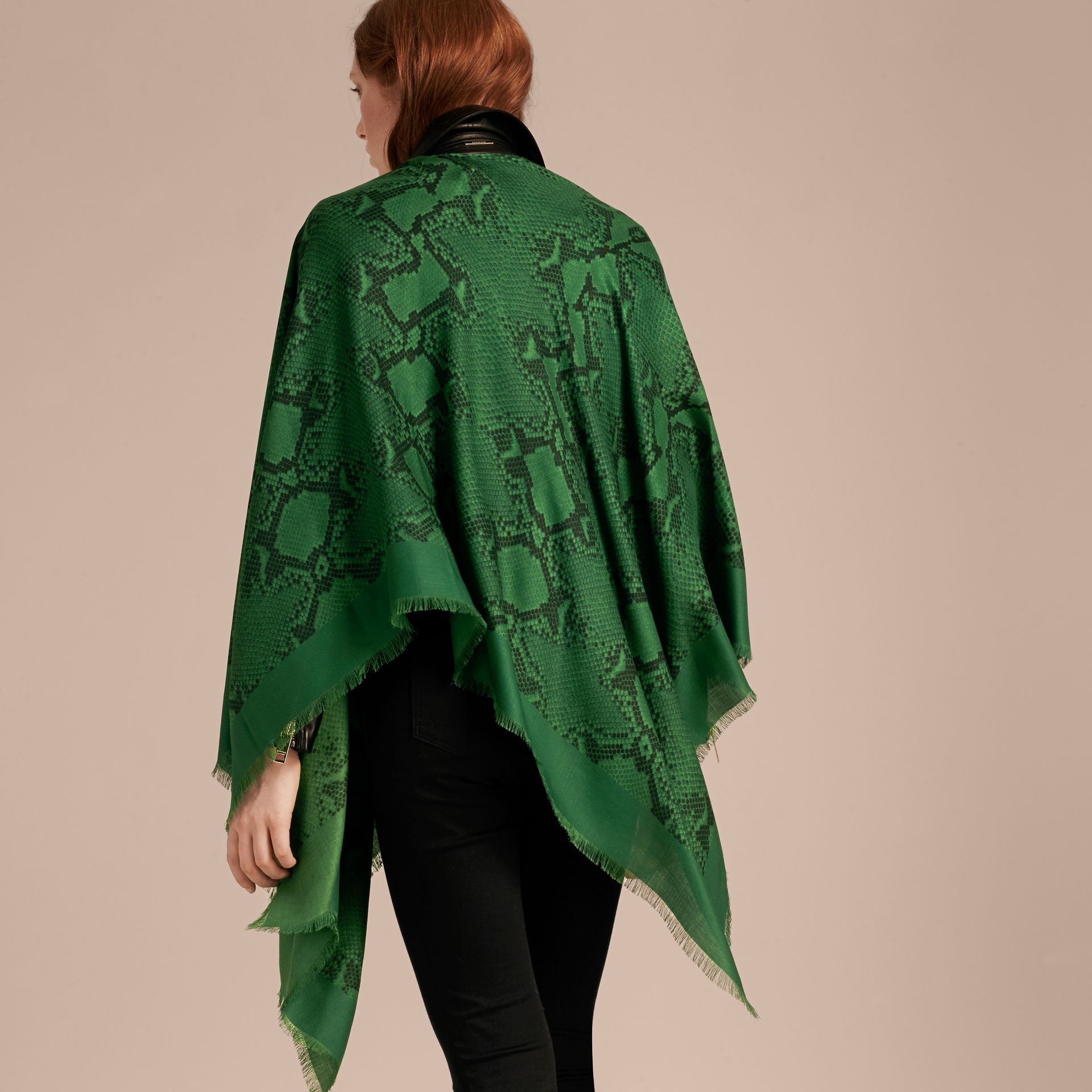 Bright green Lightweight Python Print Wool Cashmere Silk Poncho Bright Green - gallery image 6