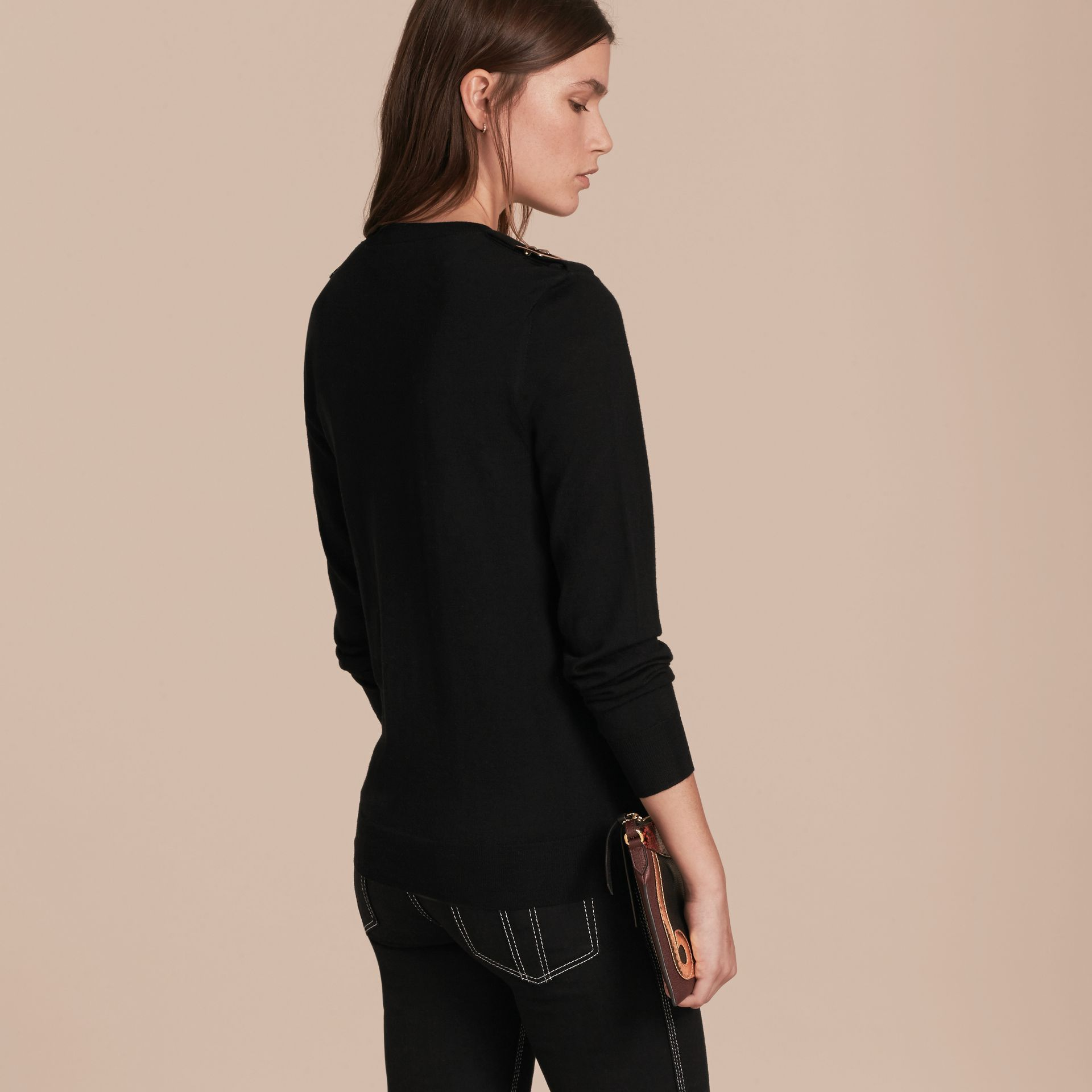 Buckle Detail Merino Wool Sweater in Black - gallery image 3