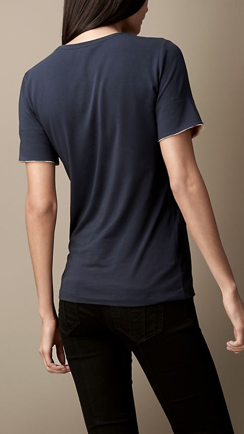 Navy Check Cuff Stretch Cotton T-Shirt - Image 2
